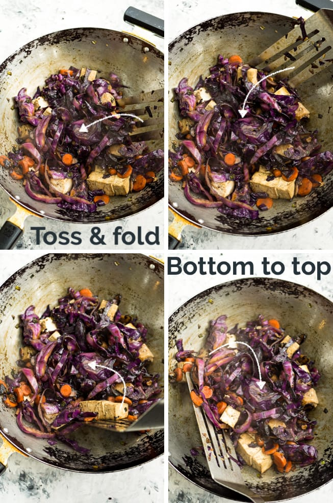 4 views of a spatula turning the vegetables in a wok for the red cabbage stir fry recipe