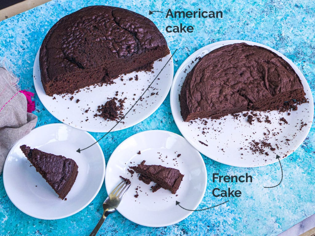 A side-by-side comparison of American and French chocolate cake sliced up