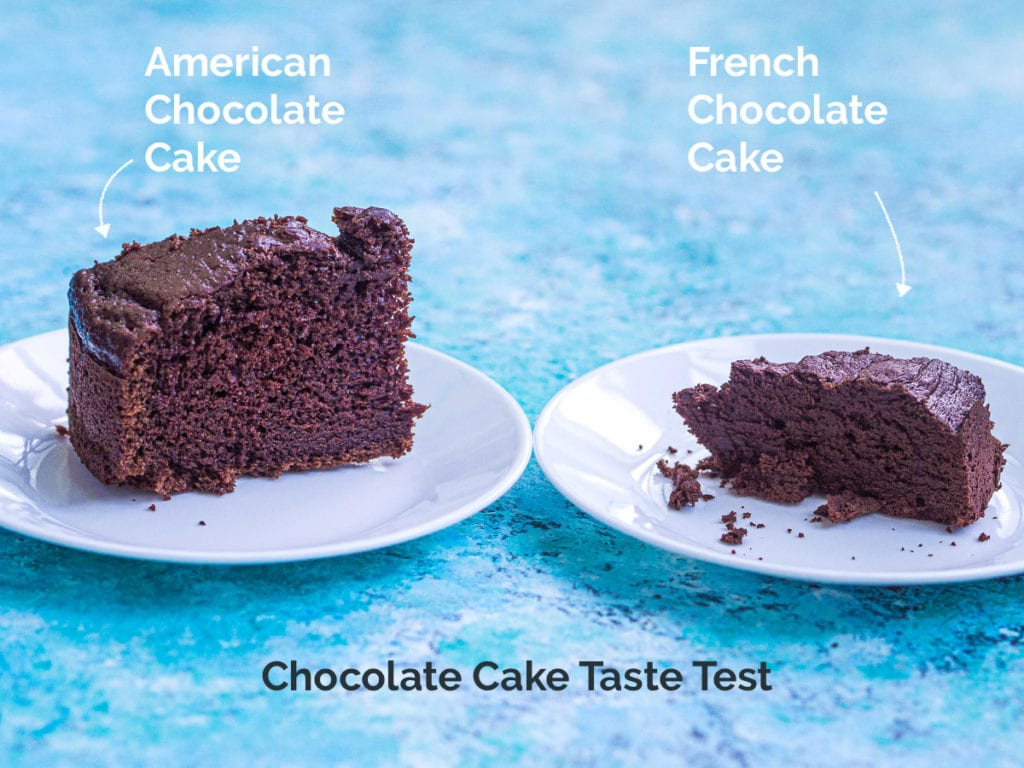 A side-by-side comparison of a slice of American chocolate cake and a slice of French chocolate cake