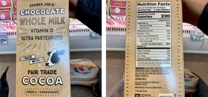 Trader Joe's carton of chocolate milk with ingredients and nutritional facts
