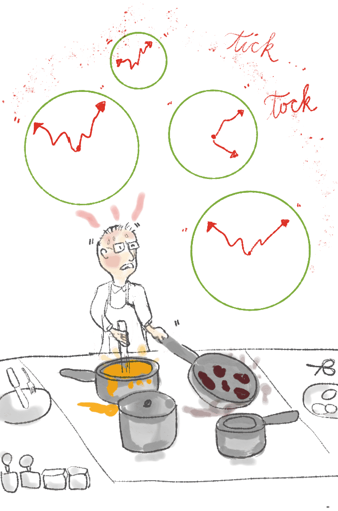 Cooking frazzled, Illustration from garlicdelight.com of a man in front of many pots, with clocks over his head.