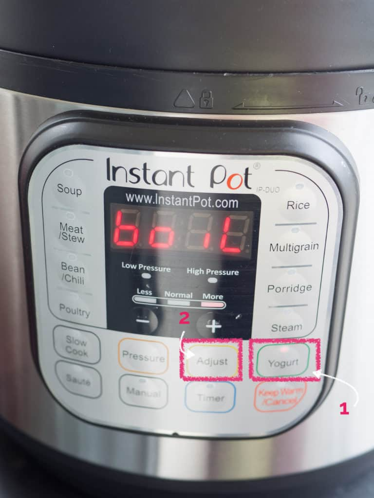 Annotated image showing the buttons to press on the Instant Pot for boiling milk