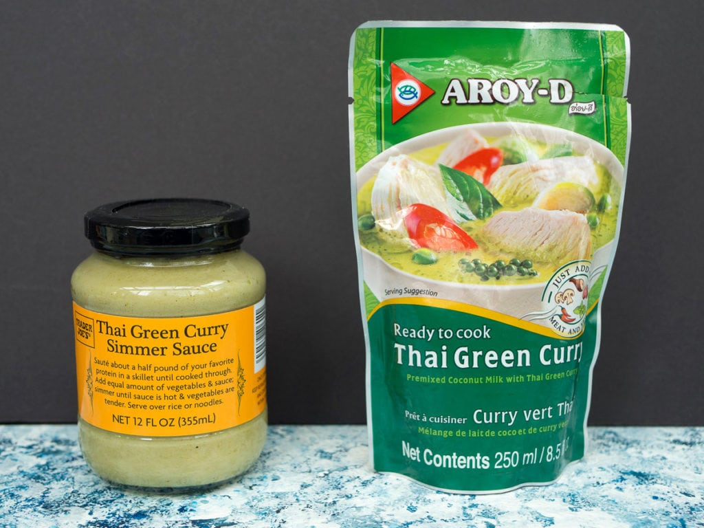 Side-by-side comparison of Trader Joe's and Aroy-D curry sauce for the curry taste test