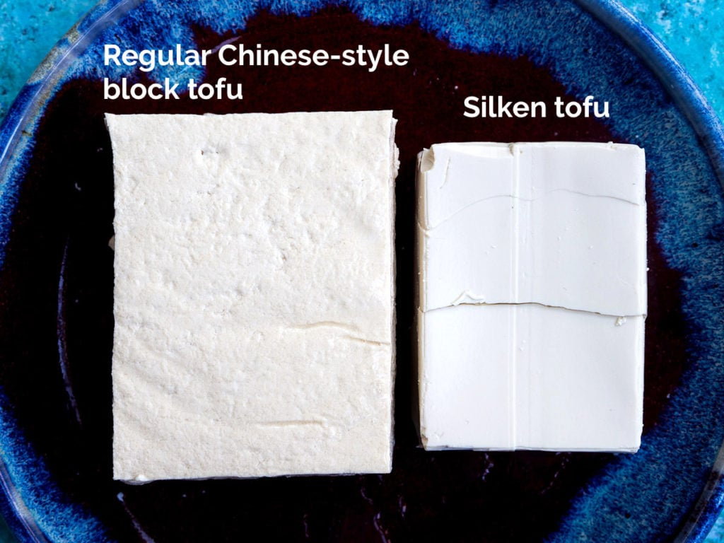 Side-by-side comparison of regular Chinese-style block tofu and silken tofu