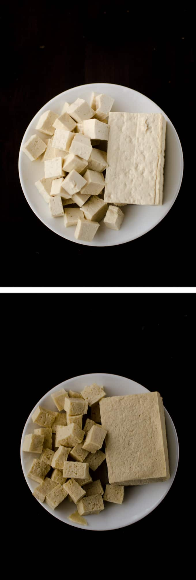 Overhead view of Regular Extra Firm Tofu compared with Defrosted Extra Firm Tofu on white plate and dark wood background. Stories from garlicdelight.com.