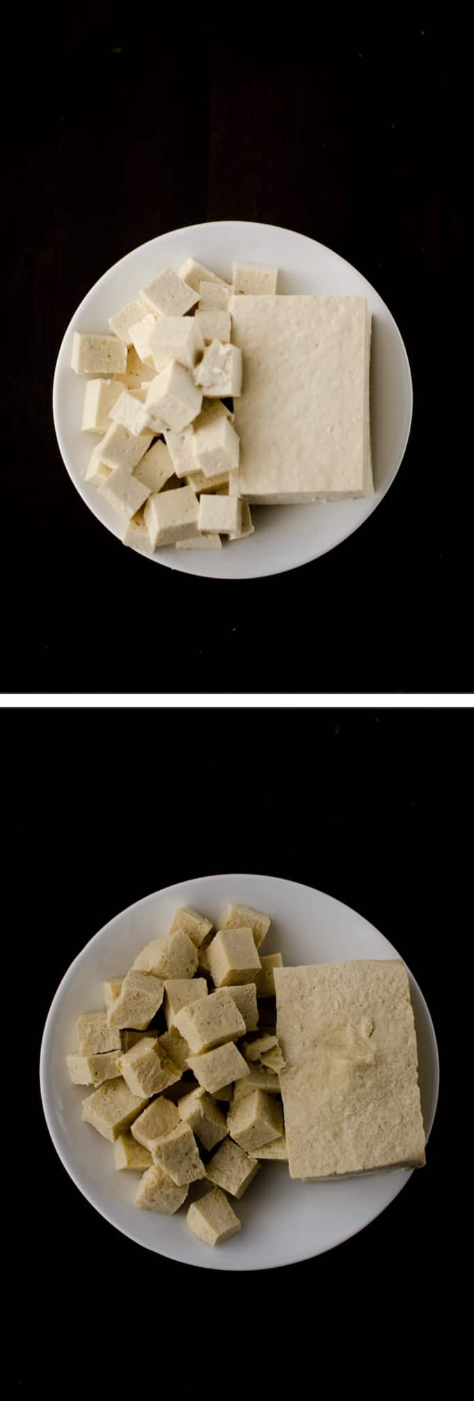 Overhead view of Regular Firm Tofu compared with Defrosted Firm Tofu on white plate and dark wood background. Stories from garlicdelight.com.