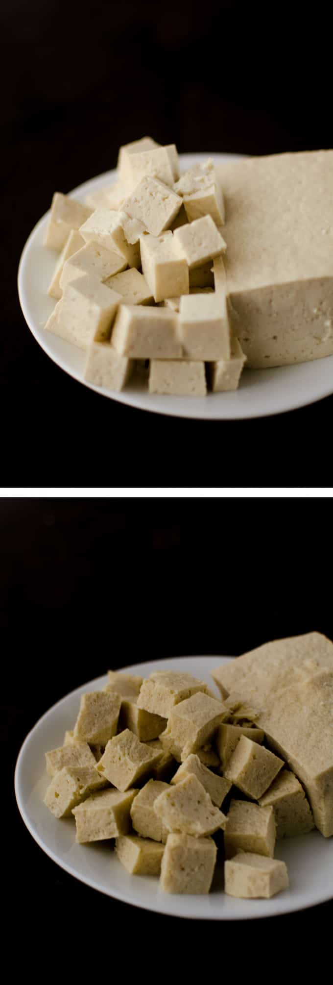 Side view of Regular Firm Tofu compared with Defrosted Firm Tofu to show texture. Stories from garlicdelight.com.