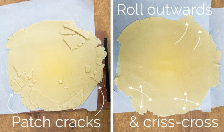 Image collage of 2 photos showing how to patch the holes in a pie crust