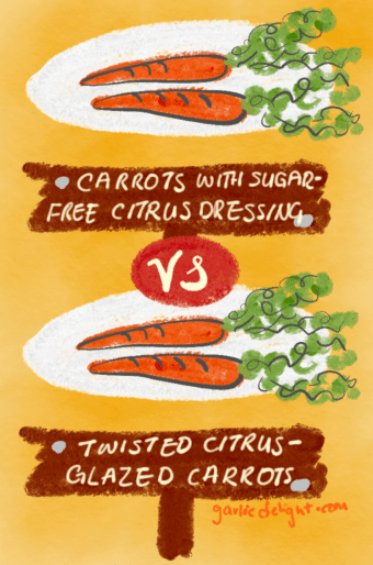 Food labeling carrots showing two different names