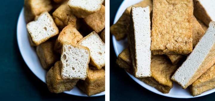 Side-by-side comparison of tofu sponge with deep-fried firm tofu cut in half