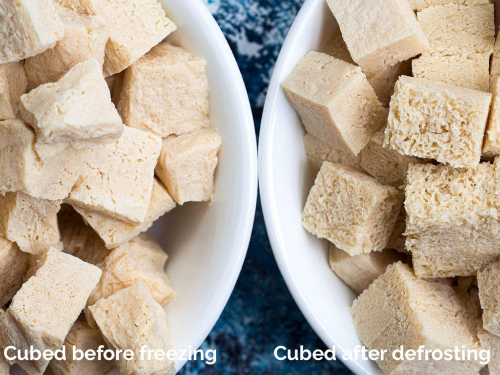 Side-by-side comparison of tofu frozen after it was cut into cubes and frozen as a block