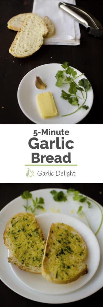 5-Minute Garlic Bread -- This 5-Minute Garlic Bread recipe cooks the garlic butter in the microwave which cuts down the amount of time from craving to satisfaction. Even works for minimalist or small apartments without an oven.Recipe from garlicdelight.com.