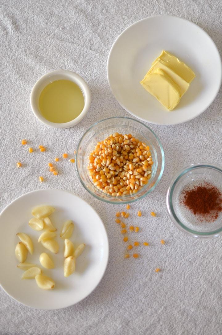 Garlic Butter Popcorn ingredients