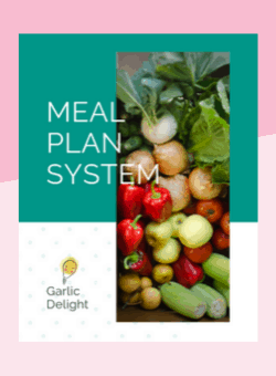 Garlic Delight Meal Plan System workbook cover image on a pink background