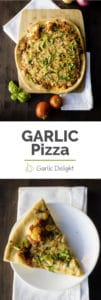 Garlic Pizza -- Garlic pizza is the way to any garlic lover's heart. The copious amounts of garlic in this pizza recipe will make your mouth water. EASY recipe to make and enjoy. Recipe from garlicdelight.com.