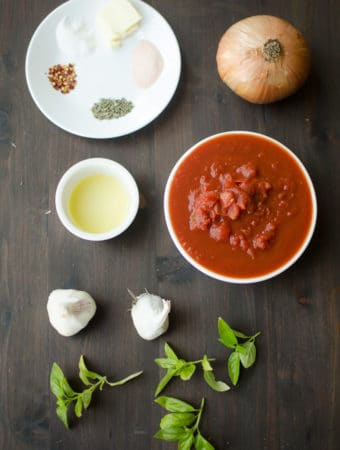 Garlic Pizza Sauce-Collect all the ingredients for the garlic pizza sauce recipe. Recipe from garlicdelight.com.