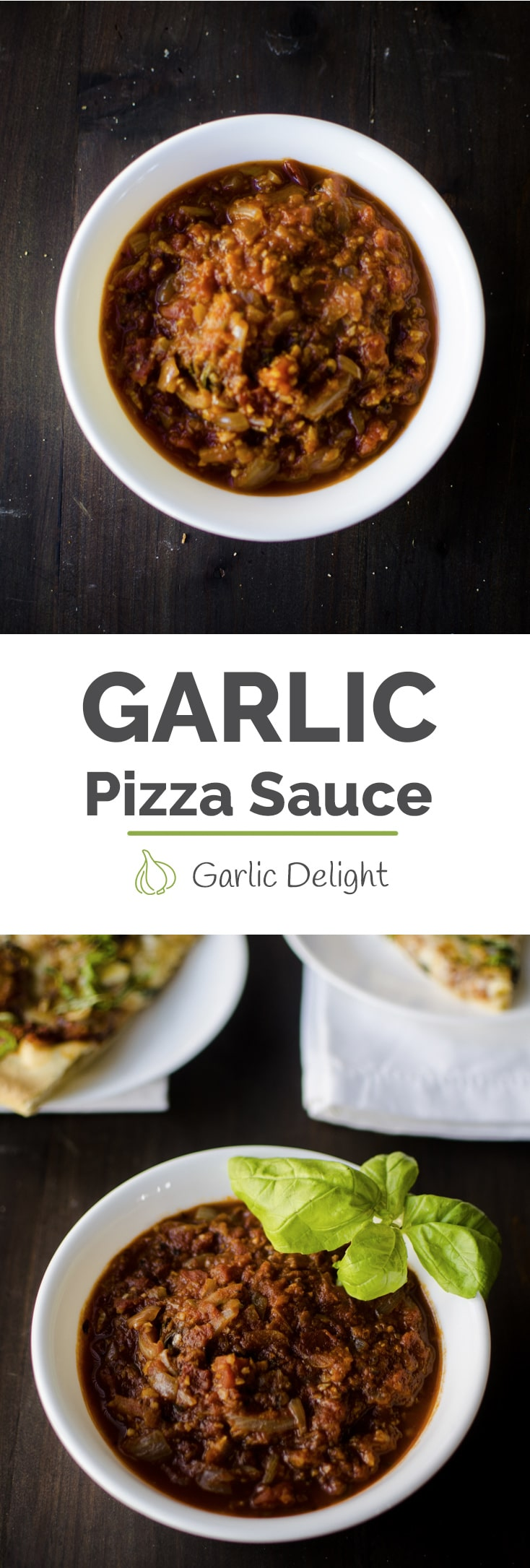 Homemade Garlic Pizza Sauce -- Piping hot garlic pizza is much yummier with slowly simmered homemade garlic pizza sauce. A bit of sugar and red pepper flakes make this recipe extra special. -- garlicdelight.com
