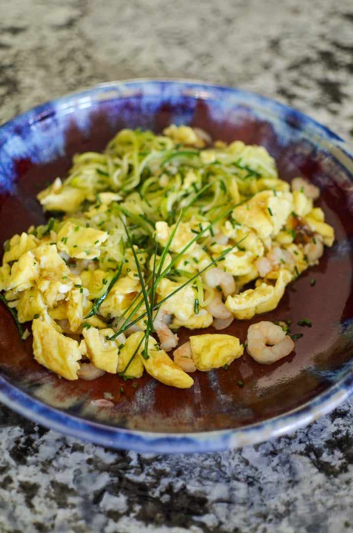 Garlic Shrimp and Scrambled Eggs with Zucchini Noodles - finished dish