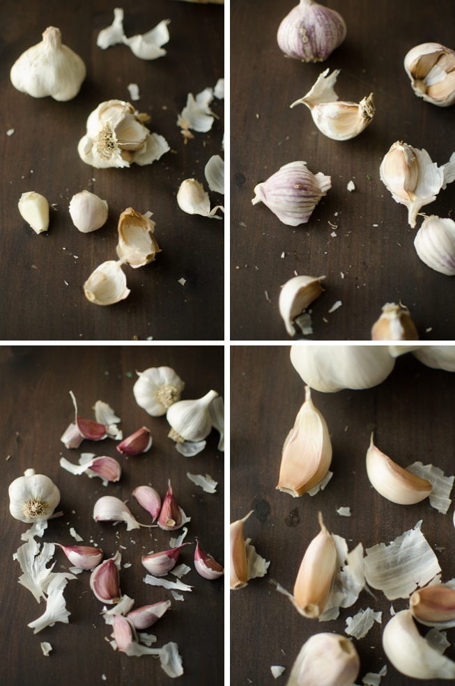 4 by 4 grid of 4 Different Garlic Varieties comparing cloves