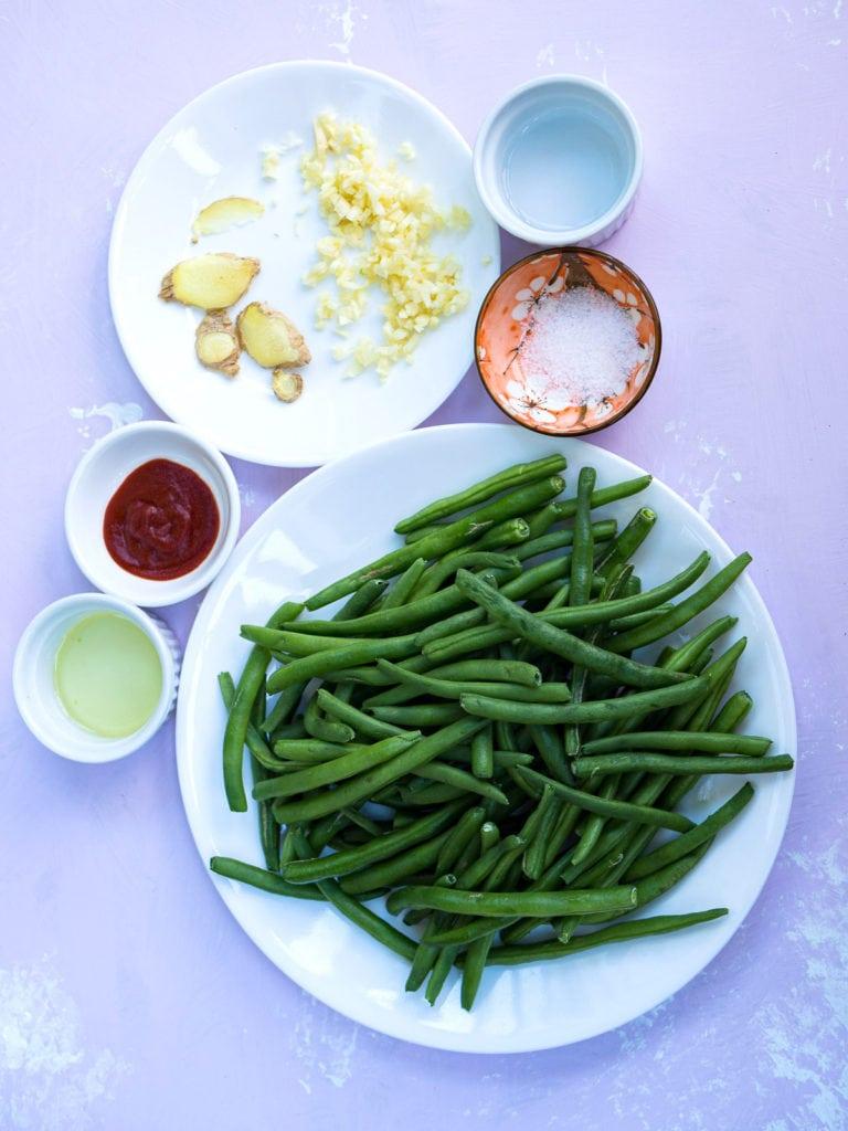 Overhead view of green beans stir fry ingredients