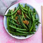 Green Beans with chopsticks and napkin