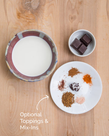 Overview of all the ingredients required for 5-minute hot chocolate recipe
