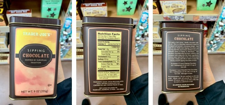 Trader Joe's package of sipping chocolate with ingredients and directions to brew