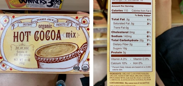 Trader Joe's package of hot cocoa with ingredients and directions to brew