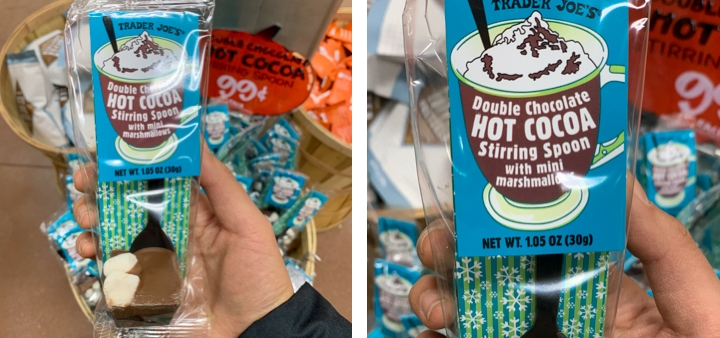 Trader Joe's package of hot chocolate in a stirring spoon with marshmallows