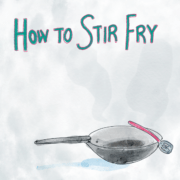 How to Stir Fry Featured Image illustration with a wok and spatula
