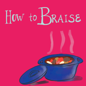 A blue cast-iron pot with braised food inside on a red background