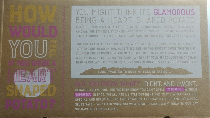 Photo of the Imperfect Produce box with its marketing message. Stories from garlicdelight.com.