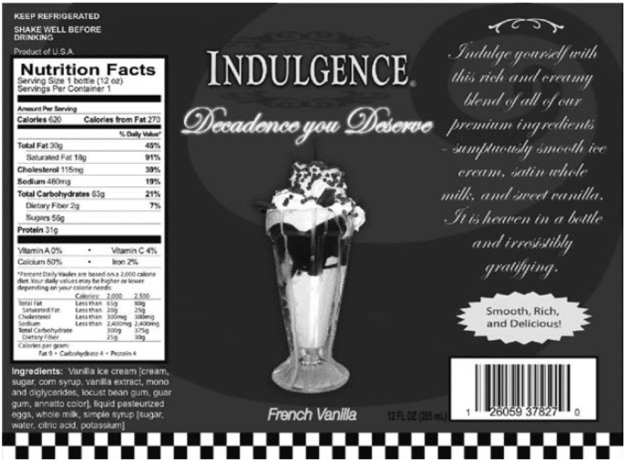 "Indulgent shake label used for indulgent milkshake in paper by researchers who published the paper ""Mind Over Milkshakes: Mindsets, Not Just Nutrients, Determine Ghrelin"""