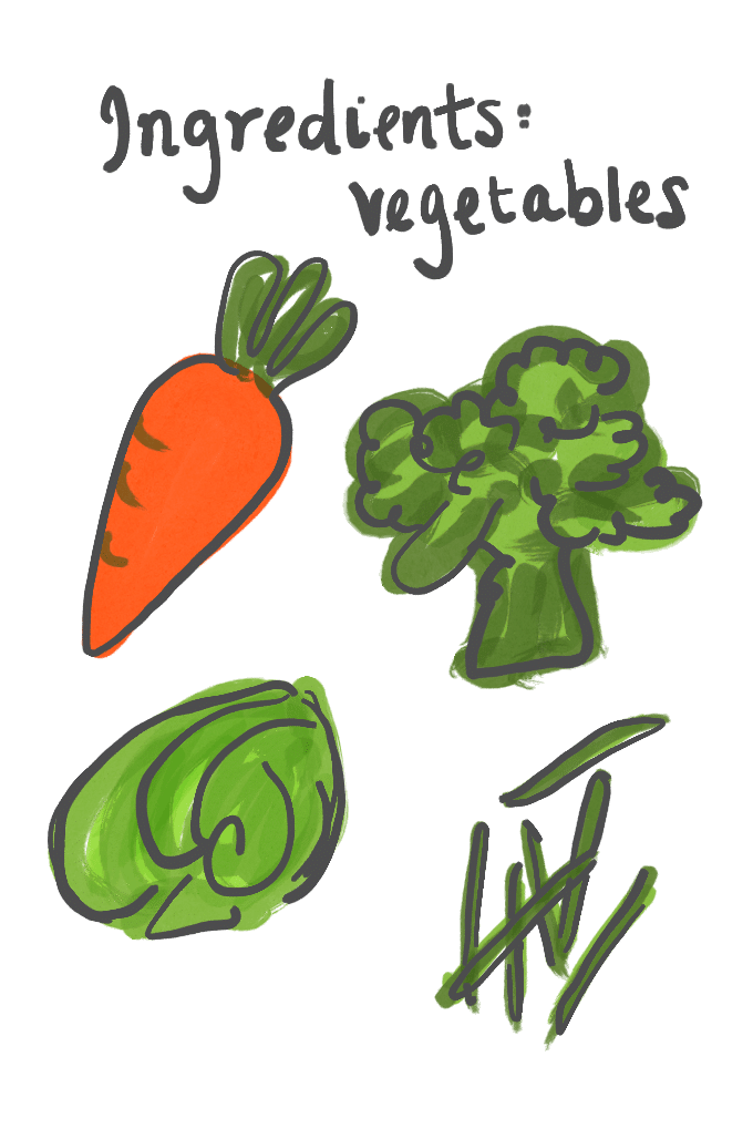 Ingredients Vegetables illustration: carrot, broccoli, cabbage, and green beans