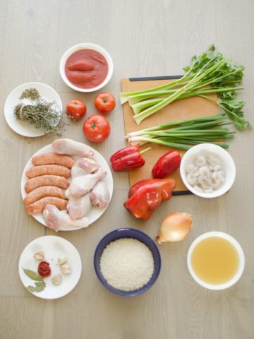 Jambalaya ingredients: celery, bell peppers, onions, shrimp, chicken, sausage...Recipe from garlicdelight.com.