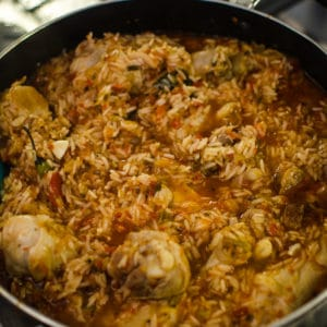 Close up shot of cooked Jambalaya. Recipe from garlicdelight.com.