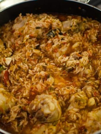 Close up shot of cooked Jambalaya. Recipe from garlicdelight.com.