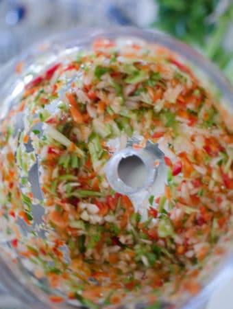 Close up shot of chopped holy trinity. JambalayaRecipe from garlicdelight.com.