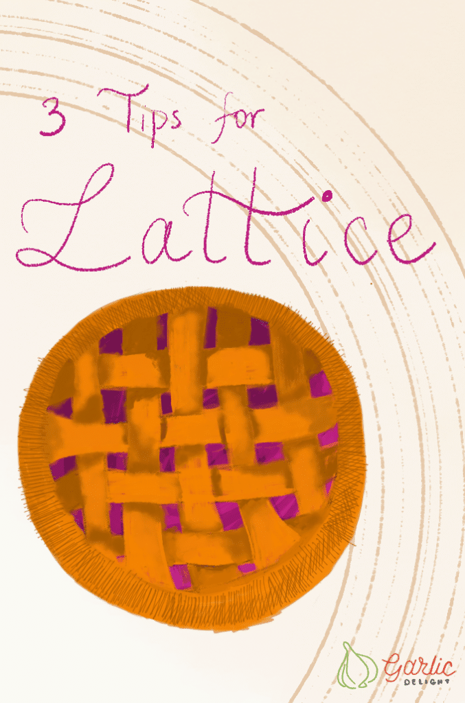 Lattice Cherry Pie on cream background. Illustration from garlicdelight.com.