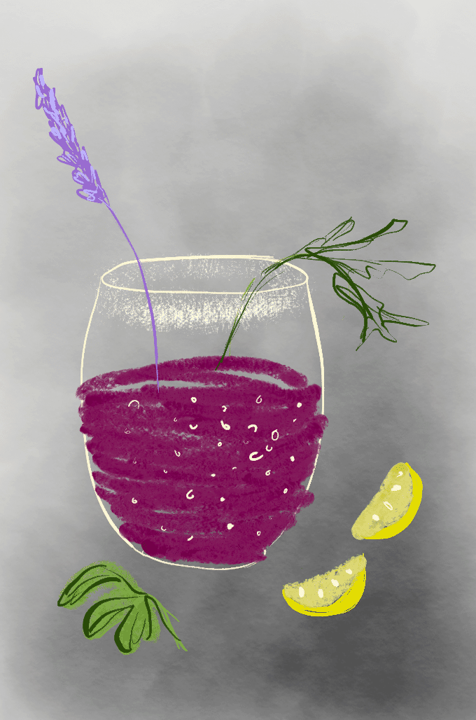 Lemonade infusion illustration with lemon wedges and mint.
