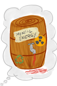 "Wooden barrel with words ""Mental Energy"" on sticker and tap showing leak."
