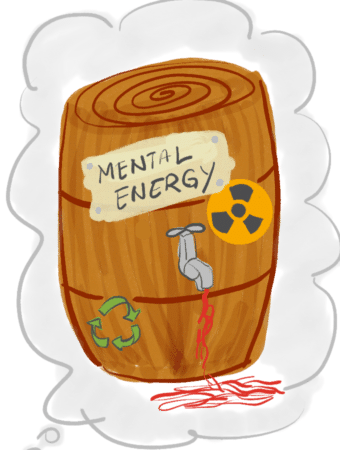 """Wooden barrel with words """"Mental Energy"""" on sticker and tap showing leak."""