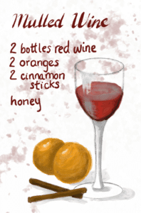 Mulled Wine Recipe. Illustration of wine glass with 2 oranges and 2 cinnamon sticks, from garlicdelight.com.