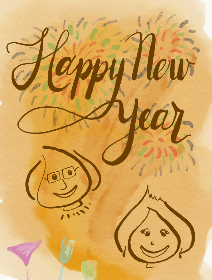 Happy New Year 2018. Illustration from garlicdelight.com.