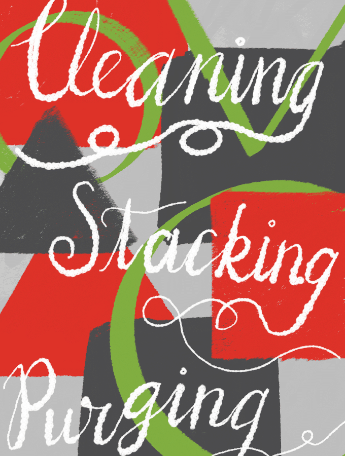 New Years Excitement - Cleaning, Stacking, Purging illustration. Illustration from garlicdelight.com.