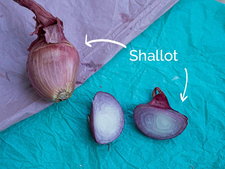 A view of a shallot chopped in half to see the cross sectional view and the outer skin