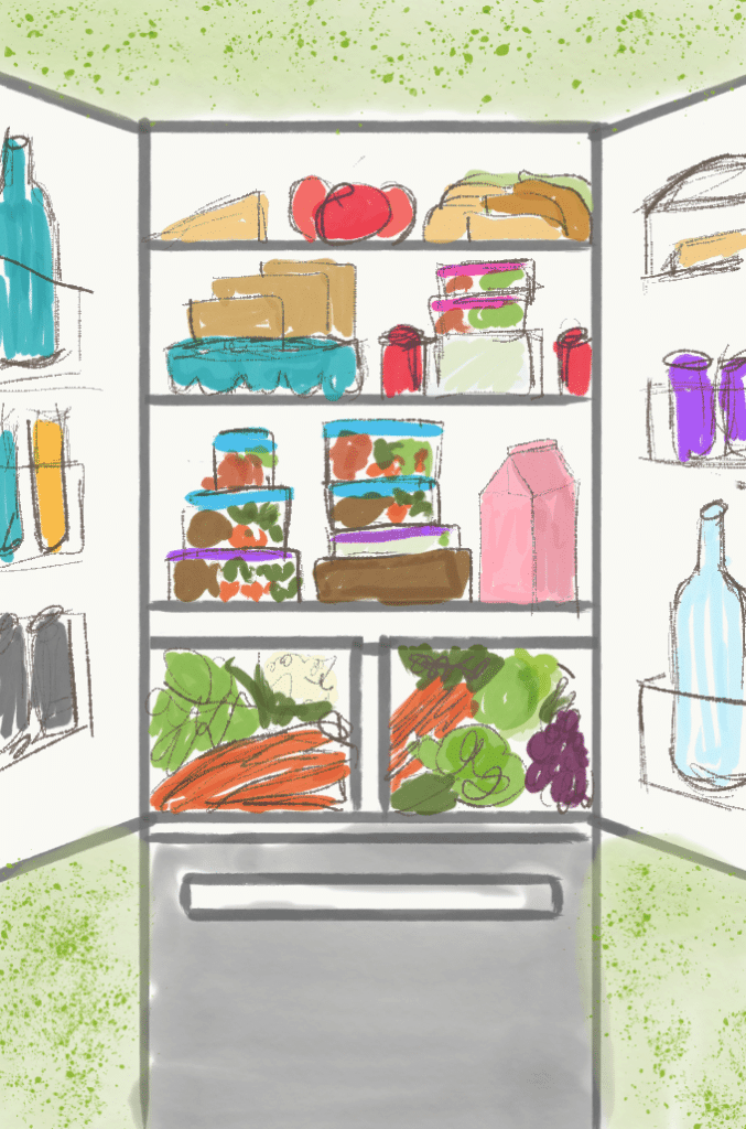 Illustration of a Fridge well Organized with containers neatly stacked.