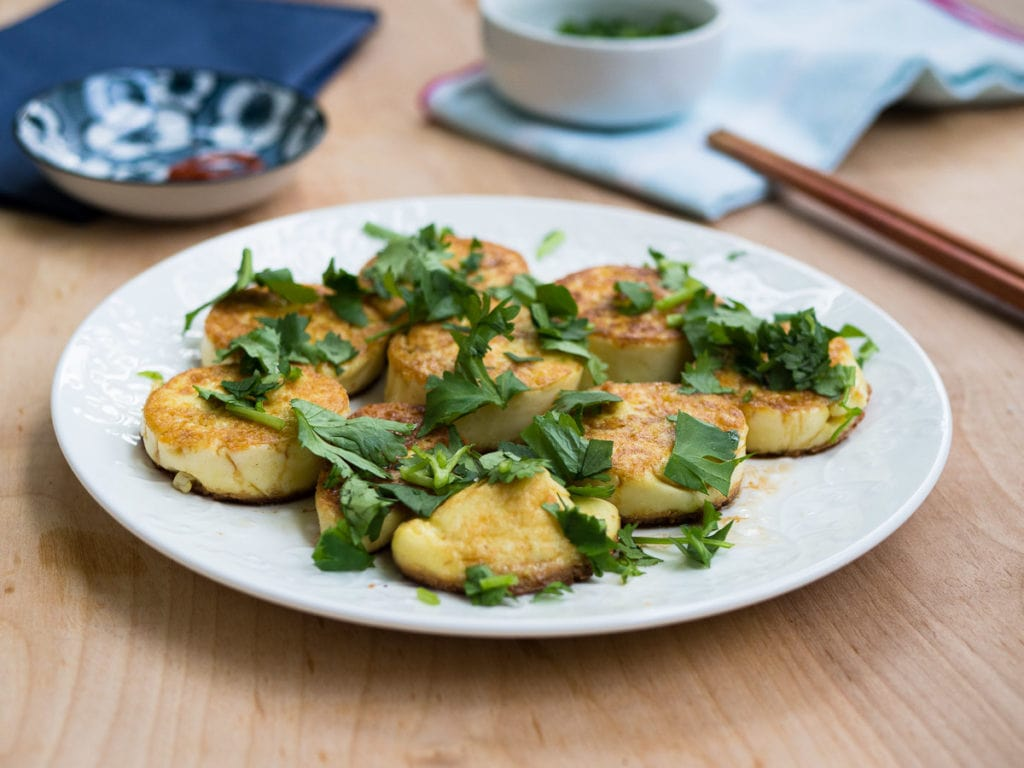 A view of the pan-fried egg tofu with cilantro recipe