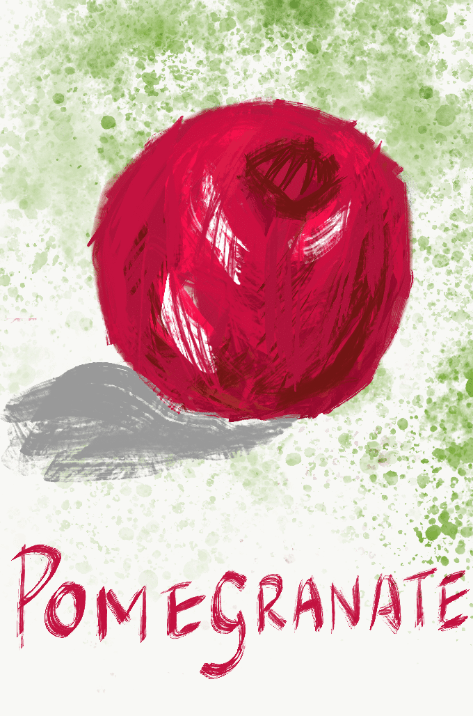 Pomegranate drawn with palette knife and green splatter in background. Illustration from garlicdelight.com.