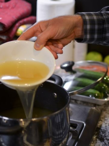 boil the chicken broth